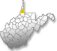 Marshall County is highlighted by a yellow color showing its location within West Virginia.